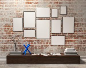 mock up compositon of poster frames in vintage interir
