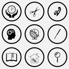 clock in hands, scissors, french curve, human brain, globe and c