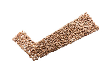 Checkmark from Sunflower seed isolated with clipping path