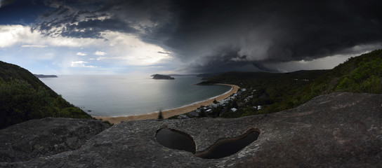 Supercell storm over Broken Bay Pearl Beach NSW Australia