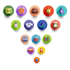 Business management and office icon set