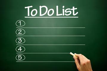 Blank TO DO LIST, concept on blackboard
