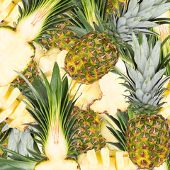 Abstract background with pineapple. Seamless pattern