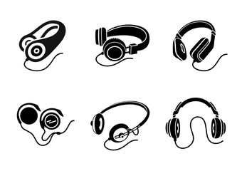 Headphones icon set in black on white background