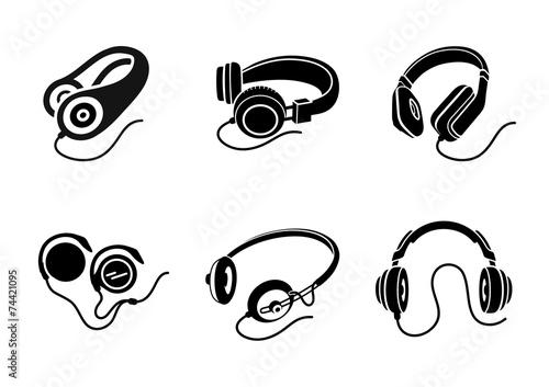 Headphones icon set in black on white background - 74421095