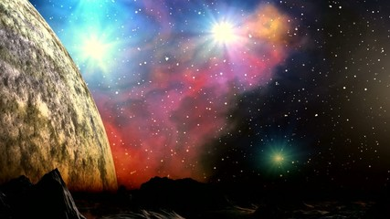 Huge planet and a bright nebula in the background dreamscape