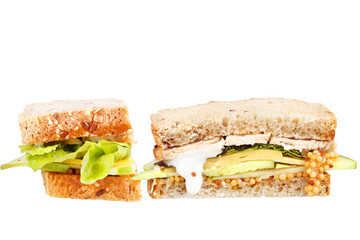 Turkey, cheddar, and green apple sandwich isolated on white
