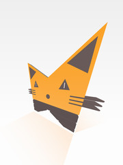 3d Stylized Bright Cat in Perspective with Shade Poster Vector
