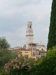 The San Micheli's bell tower in Verona in Italy