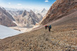 Hikers in high mountains.