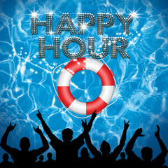 Happy Hour poster lifebuoy pool party