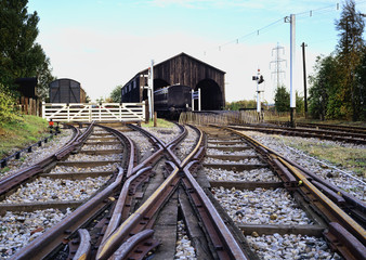 Vintage railway junction and train shed