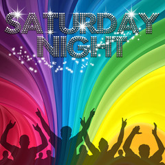 Saturday Night poster rainbow