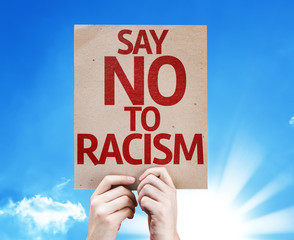Say No To Racism card with sky background