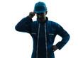 man construction worker saluting silhouette portrait
