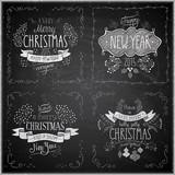 Fototapety Christmas hand drawn card set - Chalkboard.