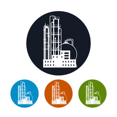 Icon of a chemical plant or refinery processing , vector
