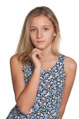 Pensive preteen girl