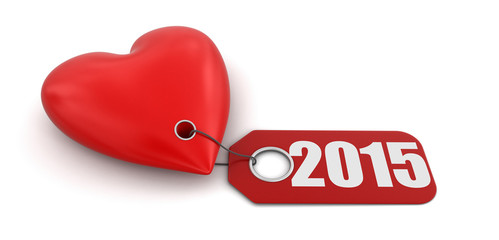 Heart with label 2015 (clipping path included)