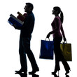 couple woman man  christmas present shopping silhouette