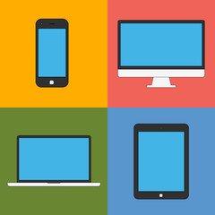 laptop, tablet computer, monitor and smartphone