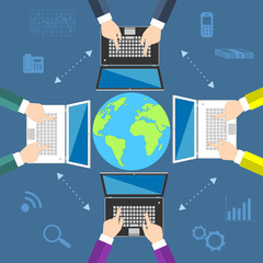 Teamwork. Concept of global business communication
