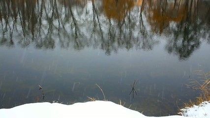 falling snow on the river