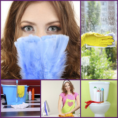 Clean concept. Young housewife cleaning supplies and tools