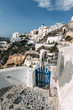 Obrazy na płótnie, fototapety, zdjęcia, fotoobrazy drukowane : Blue gate in Oia, Santorini, Greece.