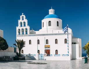 The Church of Panagia Platsani in Oia, Santorini, Greece.