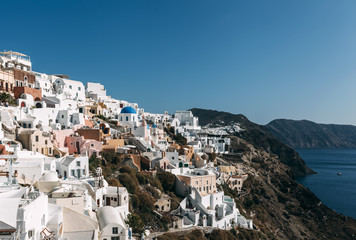 Caldera hills with houses in Oia, Santorini, Greece.