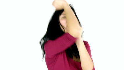 happy young woman dancing and singing isolated slow motion