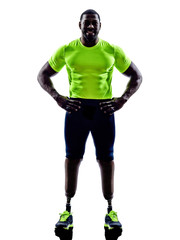 handicapped man joggers with legs prosthesis silhouette