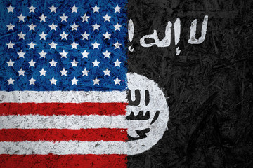 USA and Islamic State of Iraq and the Levant flags