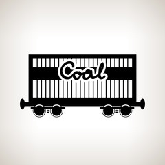Silhouette the railway freight car for coal , vector