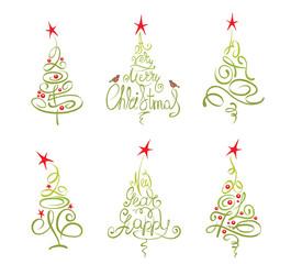 Set -- abstract christmas trees