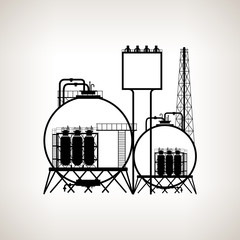 Silhouette of a chemical plant or refinery processing , vector