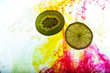 lemon and kiwi fruit isolated on white background