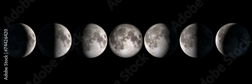 Staande foto Hemel Moon phases collage, elements of this image are provided by NASA