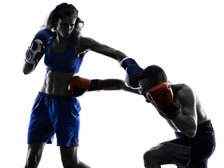 woman boxer boxing man kickboxing silhouette isolated