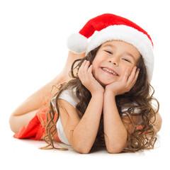 Happy little girl in Santa hat
