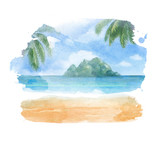 Fototapety Watercolor illustration of a tropical beach