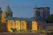 canvas print picture - Dom Essen mit Rathaus beleuchtet