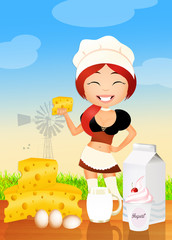 girl sells dairy products