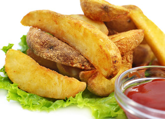 French fries with ketchup and lettuce