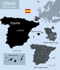 Spain vector map, regions map and Madrid districts map