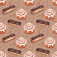 Chocolate eclair and cinnamon bun illustrations