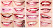 Lipsticks. Set of Women's Lips. Toothy Smiles