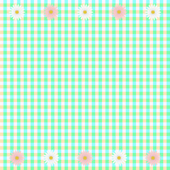 Green plaid background with white and pink daisy flowers
