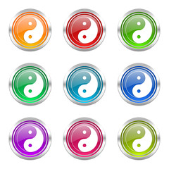ying yang colorful vector icons set
